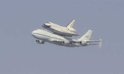 NASA Endeavour space shuttle over San Francisco 2012